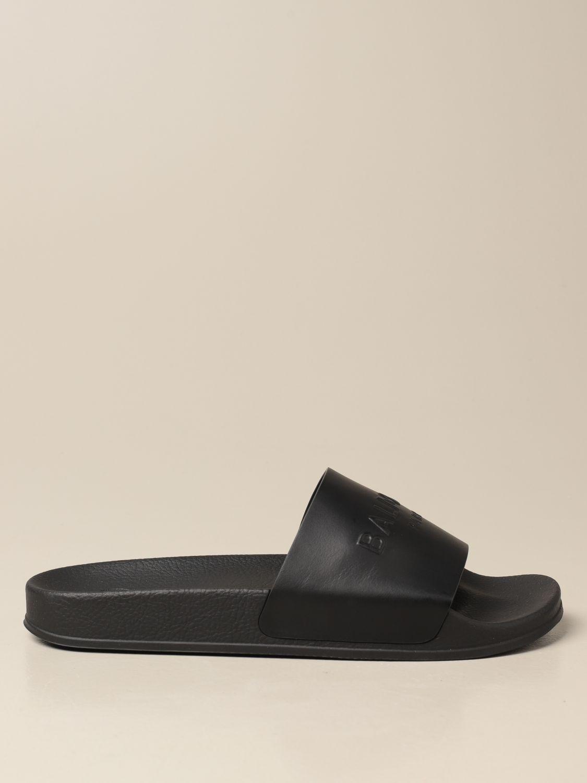 Sandals Balmain: Balmain slipper sandal in leather with logo black 1