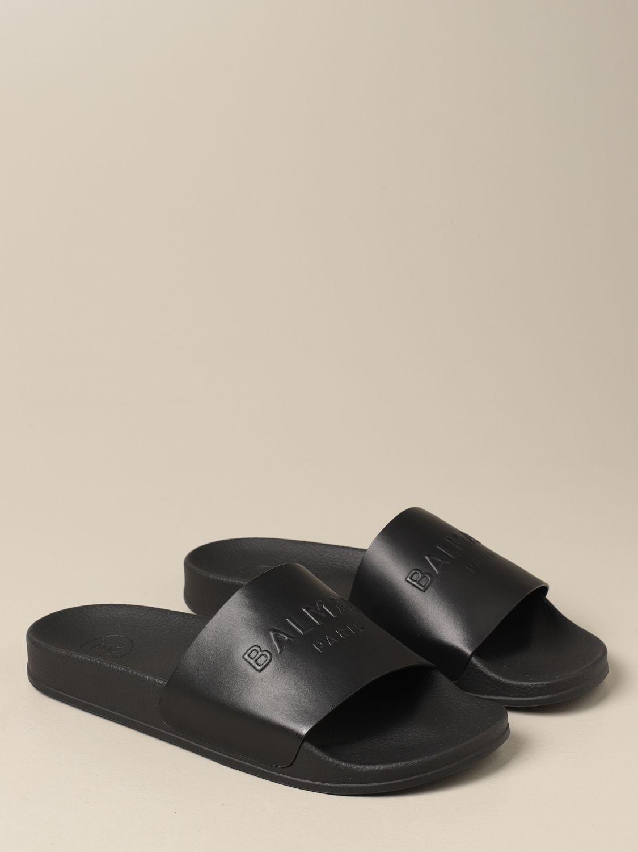 Sandals Balmain: Balmain slipper sandal in leather with logo black 2