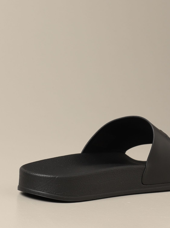 Sandals Balmain: Balmain slipper sandal in leather with logo black 3