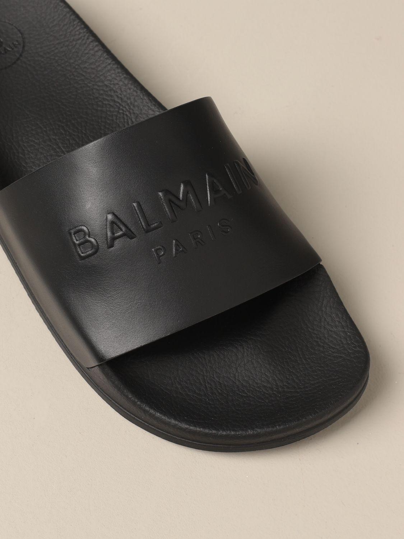 Sandals Balmain: Balmain slipper sandal in leather with logo black 4