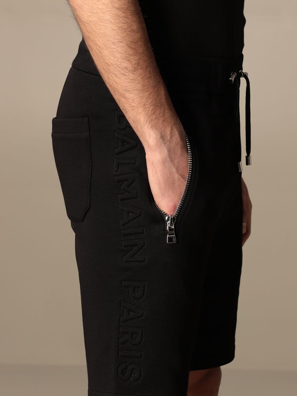 Trousers Balmain: Balmain cotton jogging shorts black 4
