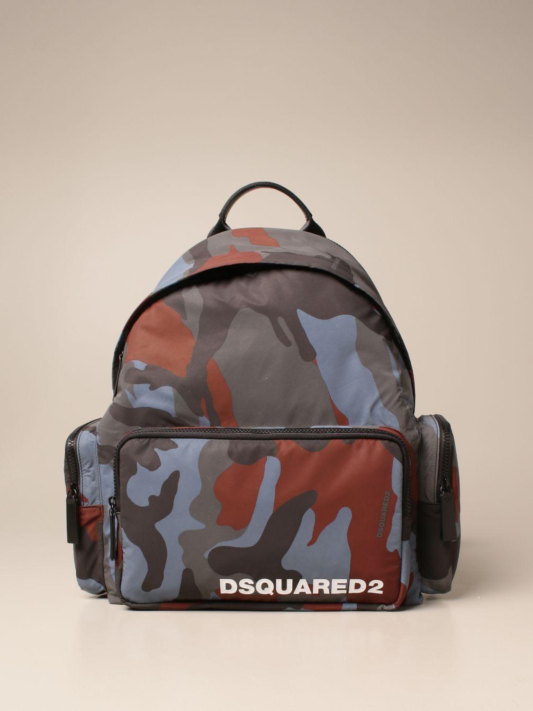 Zaino Dsquared2: Zaino Dsquared2 in nylon camouflage con logo militare 1