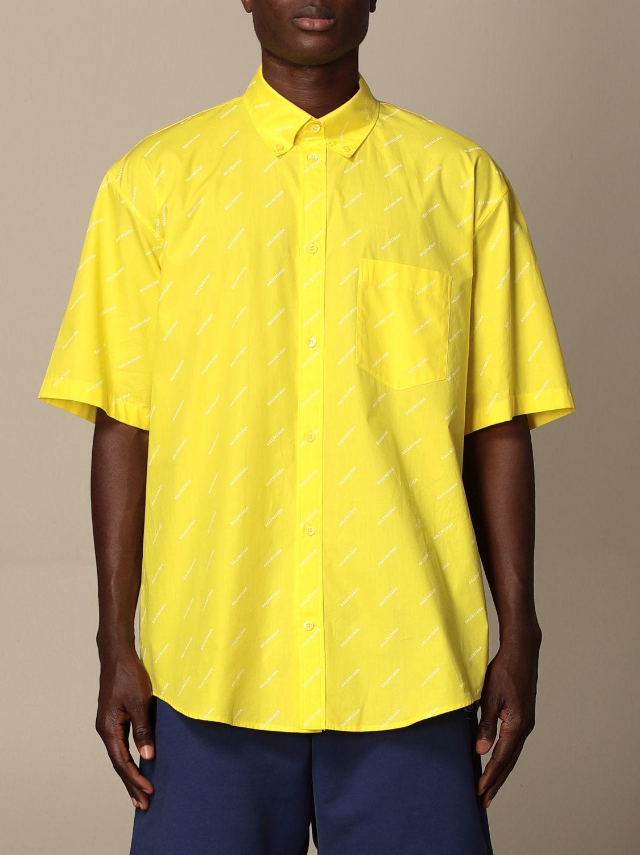 Camicia Balenciaga: Camicia Balenciaga con logo all over giallo 1