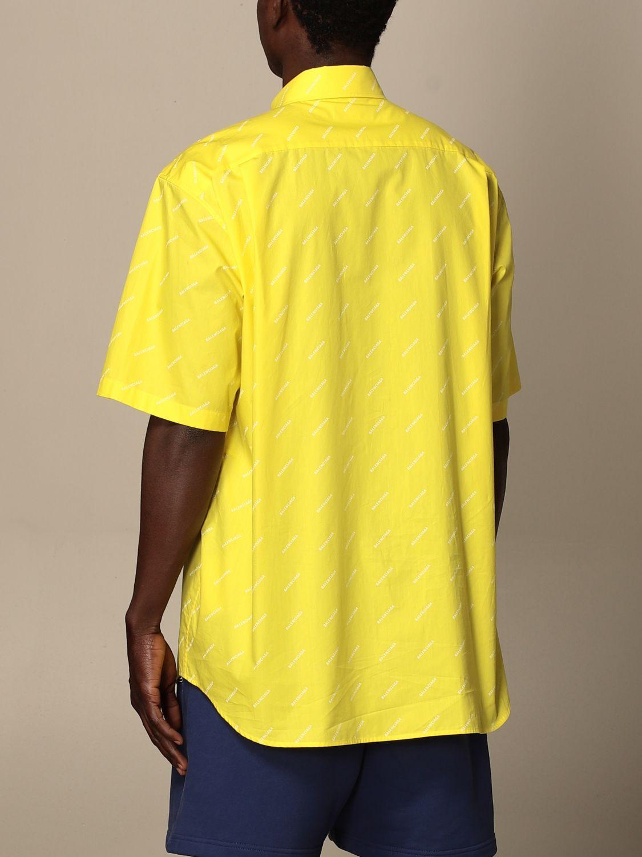 Camicia Balenciaga: Camicia Balenciaga con logo all over giallo 3