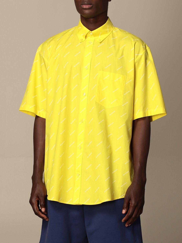 Camicia Balenciaga: Camicia Balenciaga con logo all over giallo 4