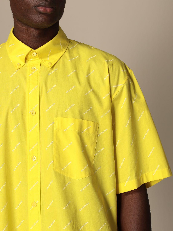 Camicia Balenciaga: Camicia Balenciaga con logo all over giallo 5