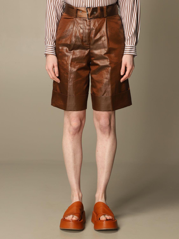 Pantaloncino Peserico: Pantaloncino a vita alta Peserico in lino e cotone spalmato marrone 1