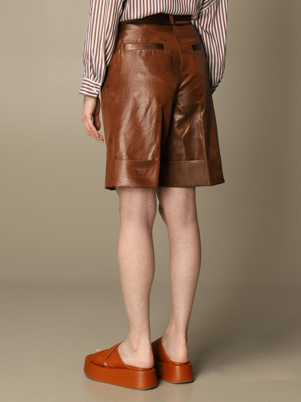 Pantaloncino Peserico: Pantaloncino a vita alta Peserico in lino e cotone spalmato marrone 2