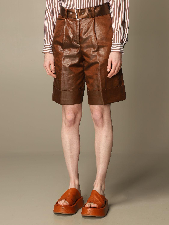 Pantaloncino Peserico: Pantaloncino a vita alta Peserico in lino e cotone spalmato marrone 3