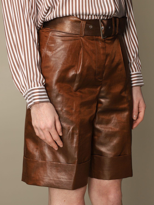 Pantaloncino Peserico: Pantaloncino a vita alta Peserico in lino e cotone spalmato marrone 4