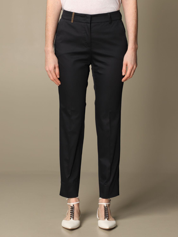 Pantalone Peserico: Pantalone slim Peserico in cotone blue 1