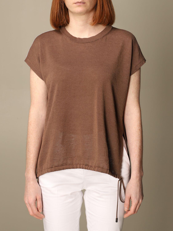 Maglia Peserico: Maglia Peserico in lino e cotone marrone 1