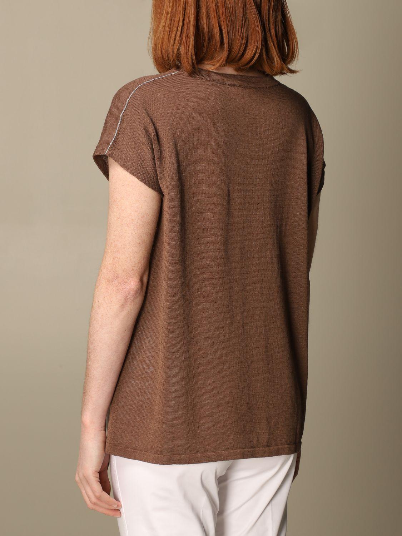 Maglia Peserico: Maglia Peserico in lino e cotone marrone 2