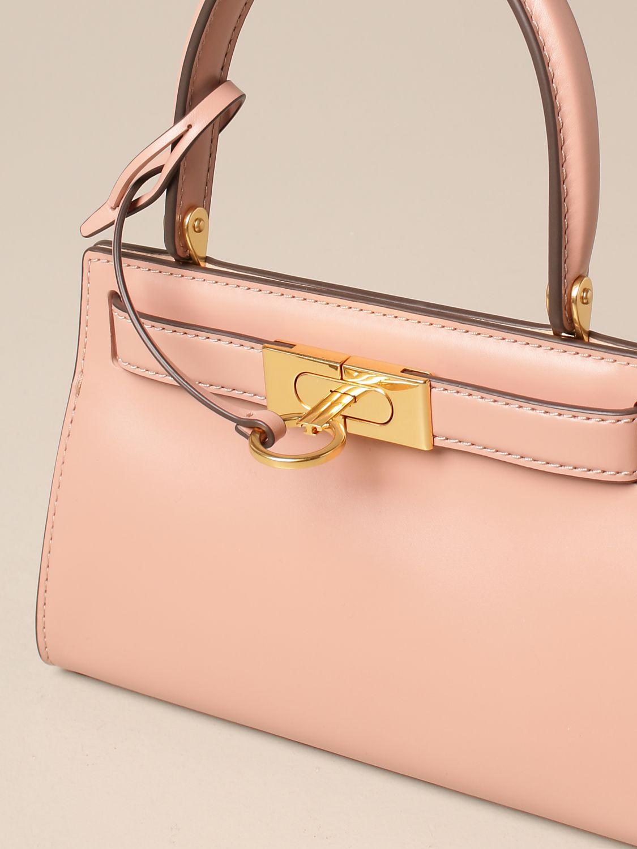 Mini bag Tory Burch: Lee Tory Burch bag in smooth leather fuchsia 4