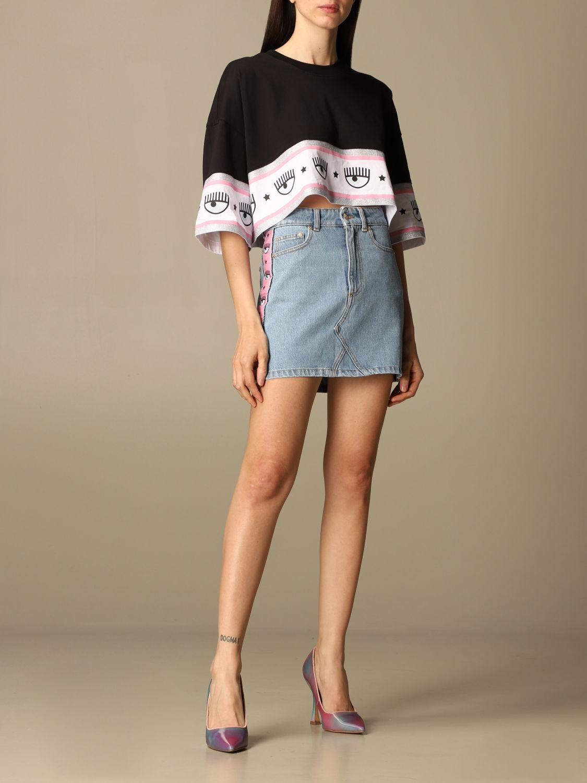 Gonna Chiara Ferragni: Gonna di jeans Chiara Ferragni con bande eyes flirting denim 2
