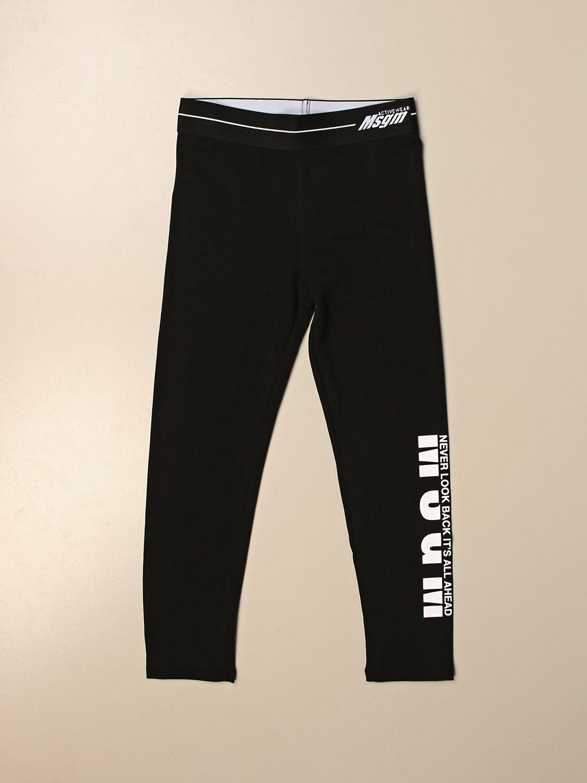 Pantalone Msgm Kids: Leggings Msgm Kids stretch con logo nero 1