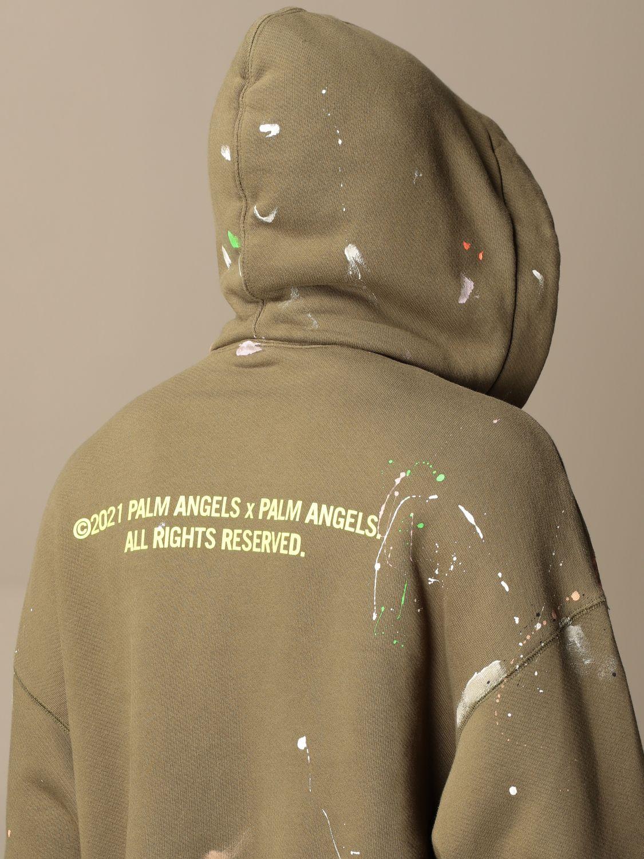 Felpa Palm Angels: Felpa con cappuccio Palm Angels in cotone con logo militare 5