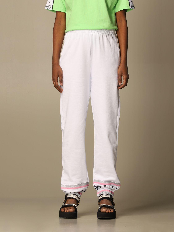 Pantalone Chiara Ferragni: Pantalone jogging Chiara Ferragni basic bianco 1