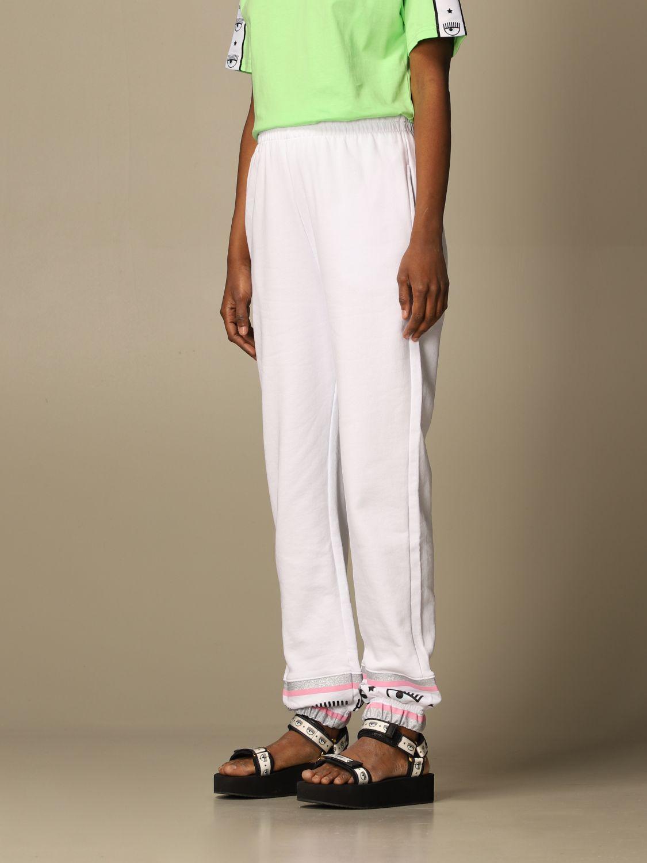 Pantalone Chiara Ferragni: Pantalone jogging Chiara Ferragni basic bianco 4