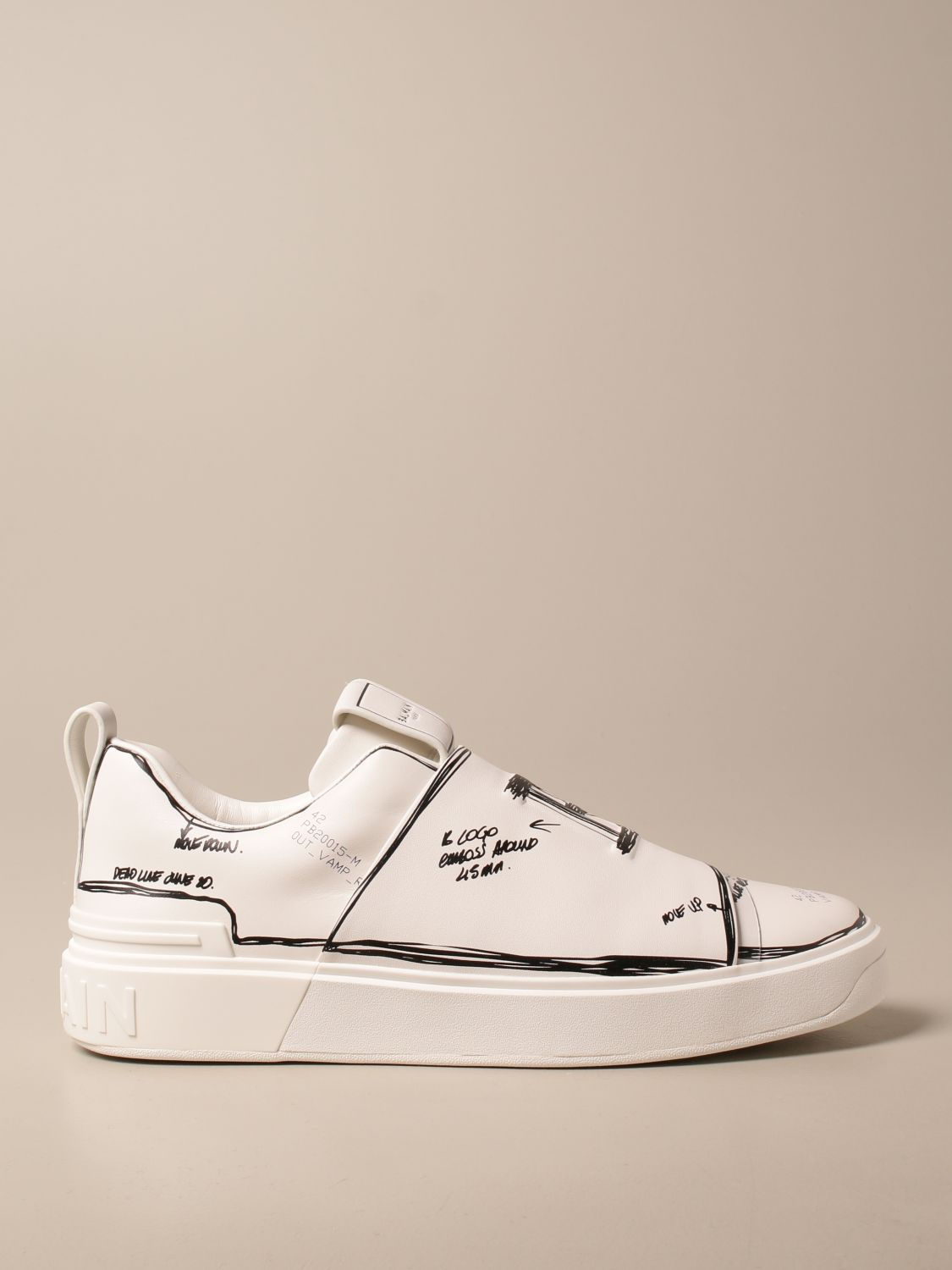 Trainers Balmain: B-Court Balmain trainers in leather with prints white 1