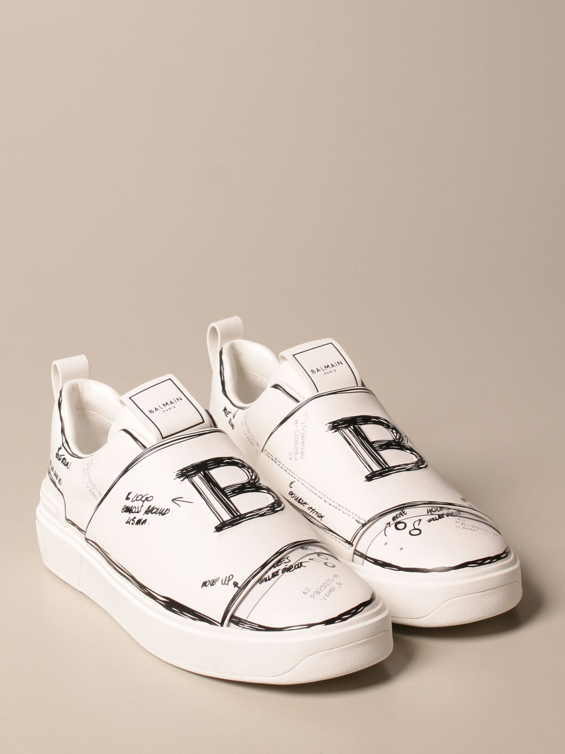 Trainers Balmain: B-Court Balmain trainers in leather with prints white 2