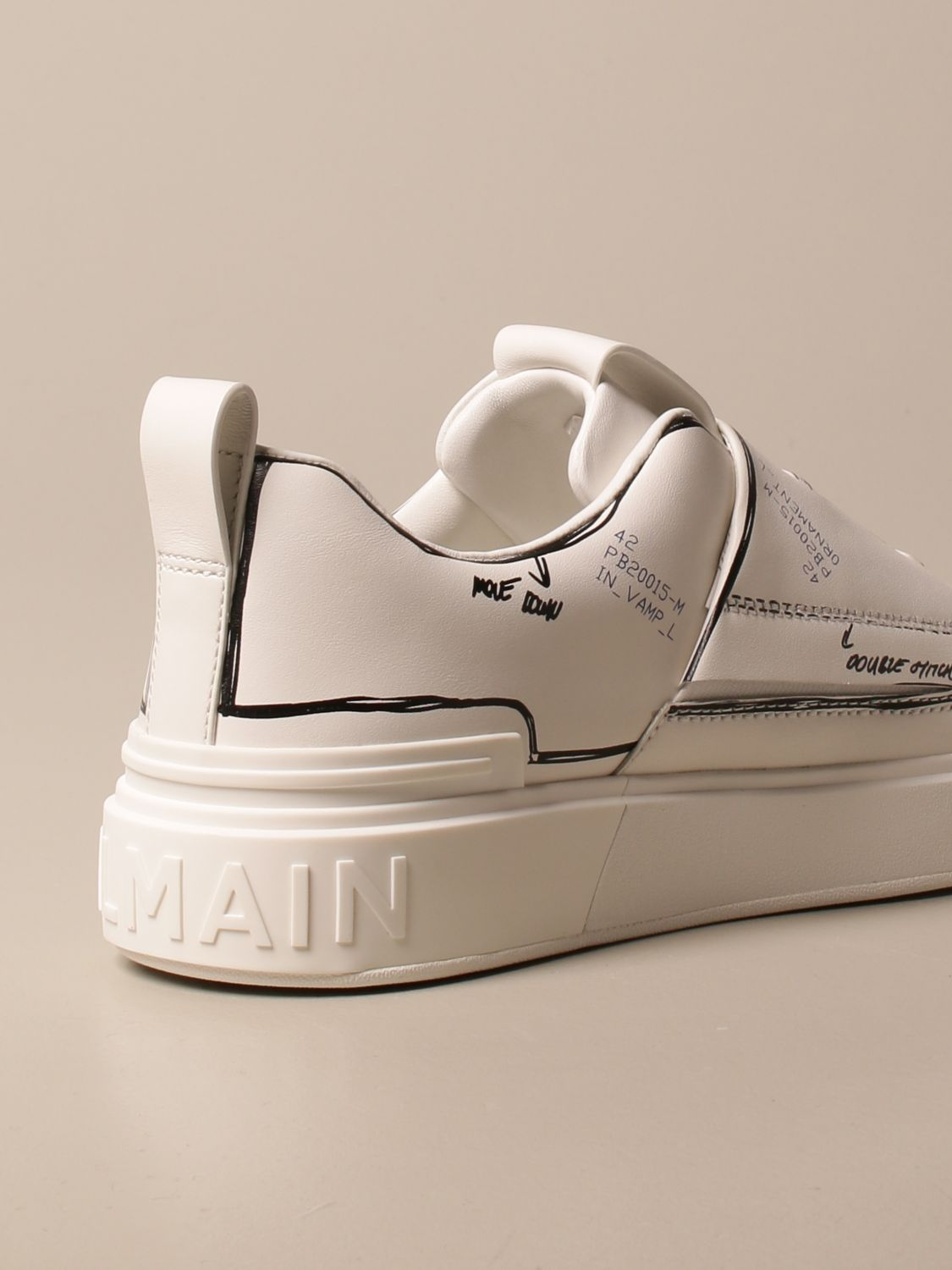 Trainers Balmain: B-Court Balmain trainers in leather with prints white 3
