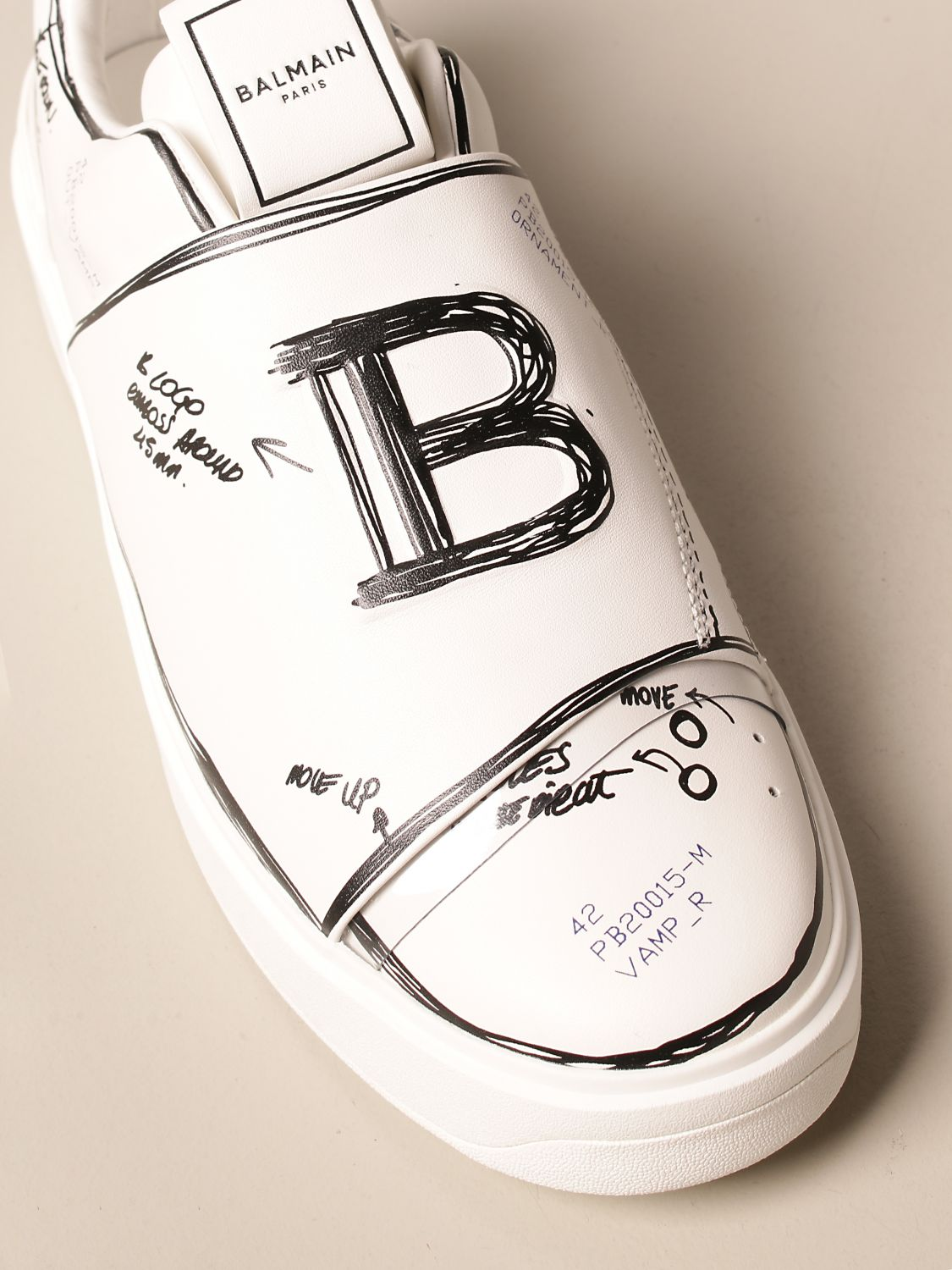 Trainers Balmain: B-Court Balmain trainers in leather with prints white 4