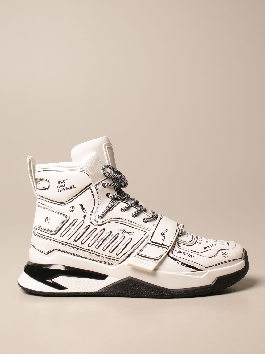 Trainers Balmain: B-Ball Balmain trainers in leather with prints white 1