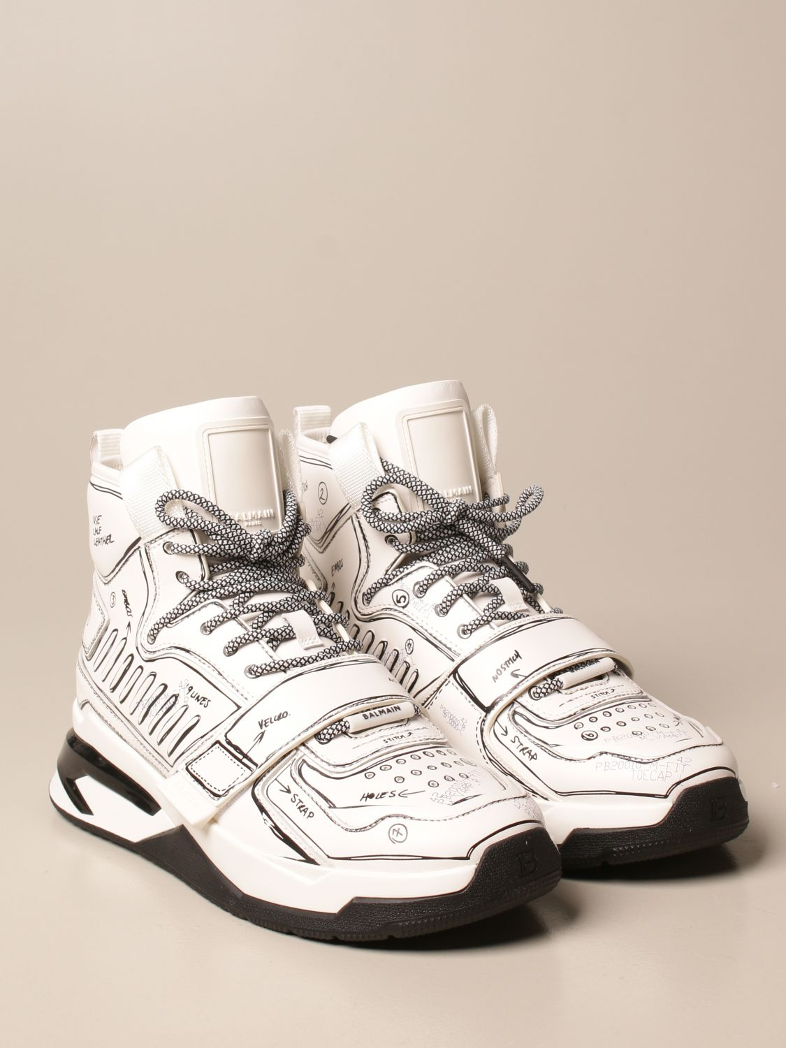 Trainers Balmain: B-Ball Balmain trainers in leather with prints white 2