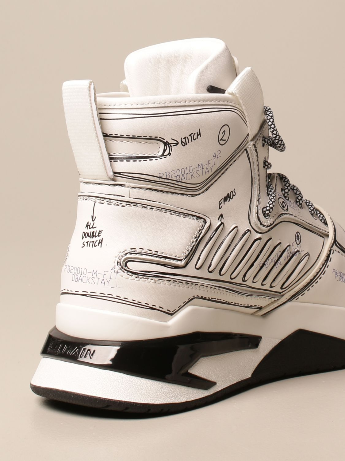 Trainers Balmain: B-Ball Balmain trainers in leather with prints white 3