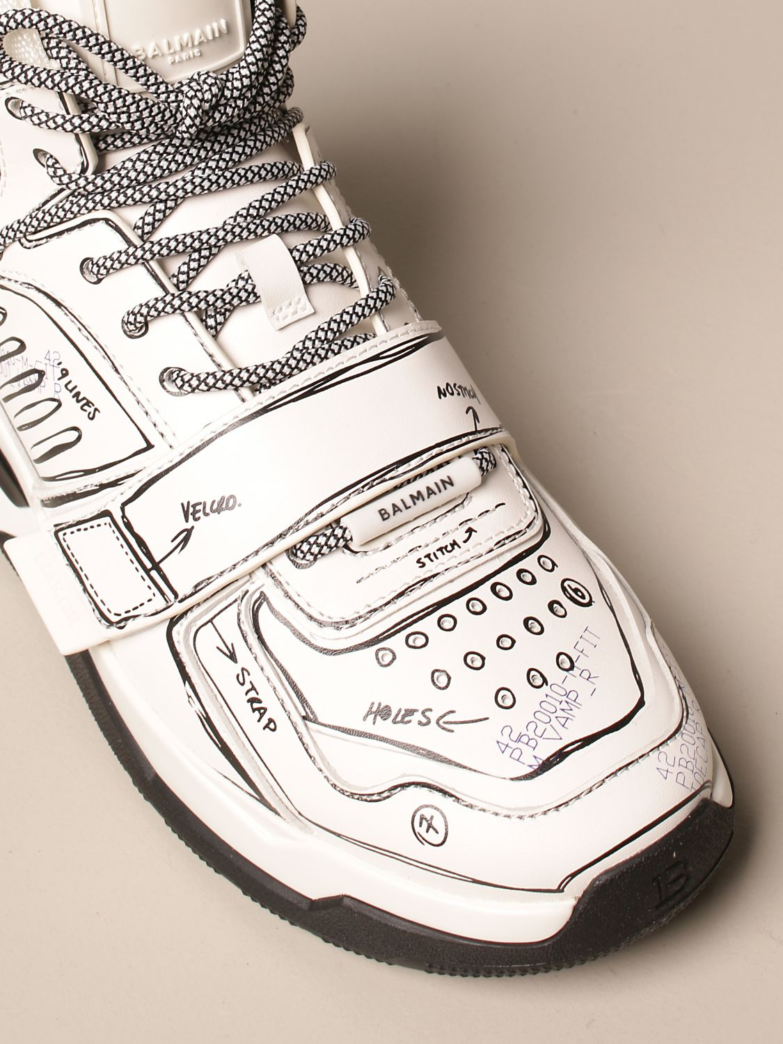 Trainers Balmain: B-Ball Balmain trainers in leather with prints white 4