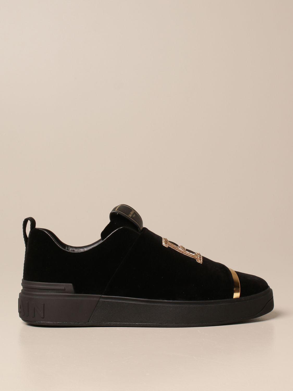 Trainers Balmain: B-Court Balmain trainers in velvet with logo black 1