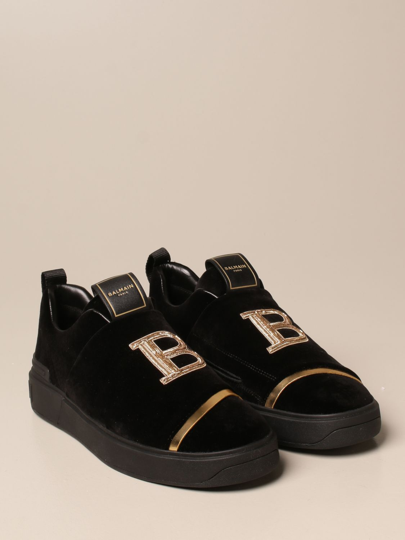 Trainers Balmain: B-Court Balmain trainers in velvet with logo black 2