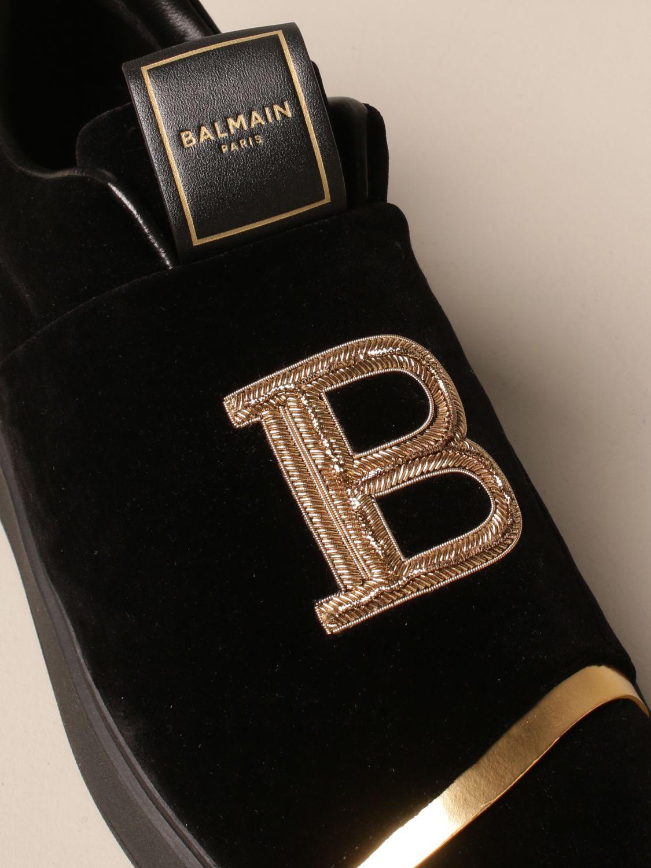 Trainers Balmain: B-Court Balmain trainers in velvet with logo black 4