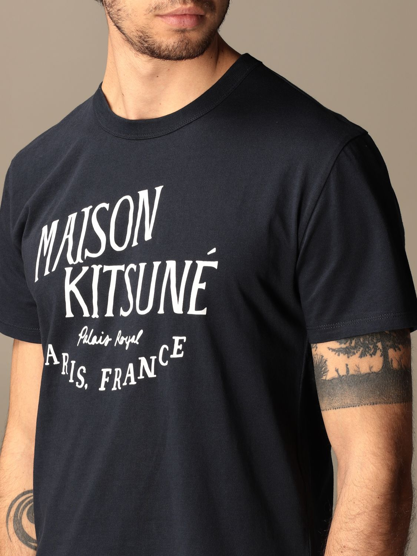 T-shirt Maison Kitsuné: T-shirt Maison Kitsuné in cotone con logo blue navy 3
