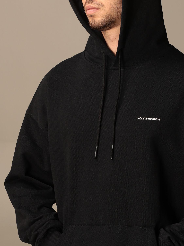 Felpa Drole De Monsieur: Felpa con cappuccio Drole De Monsieur in cotone con logo nero 4