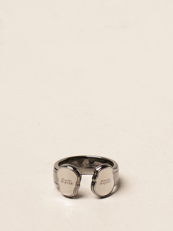 Jewel Alexander Mcqueen: Alexander McQueen ring with skulls silver 1