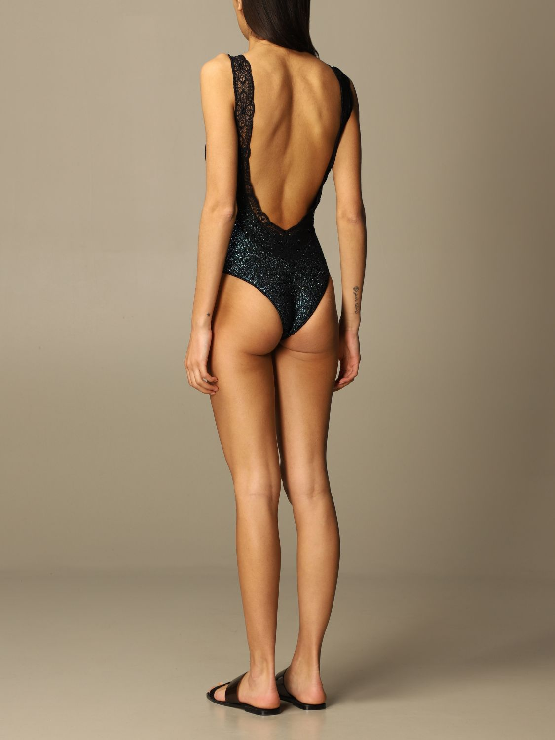 Swimsuit Circus Hotel: Circus Hotel one-piece swimsuit in lurex and lace knitZ black 2