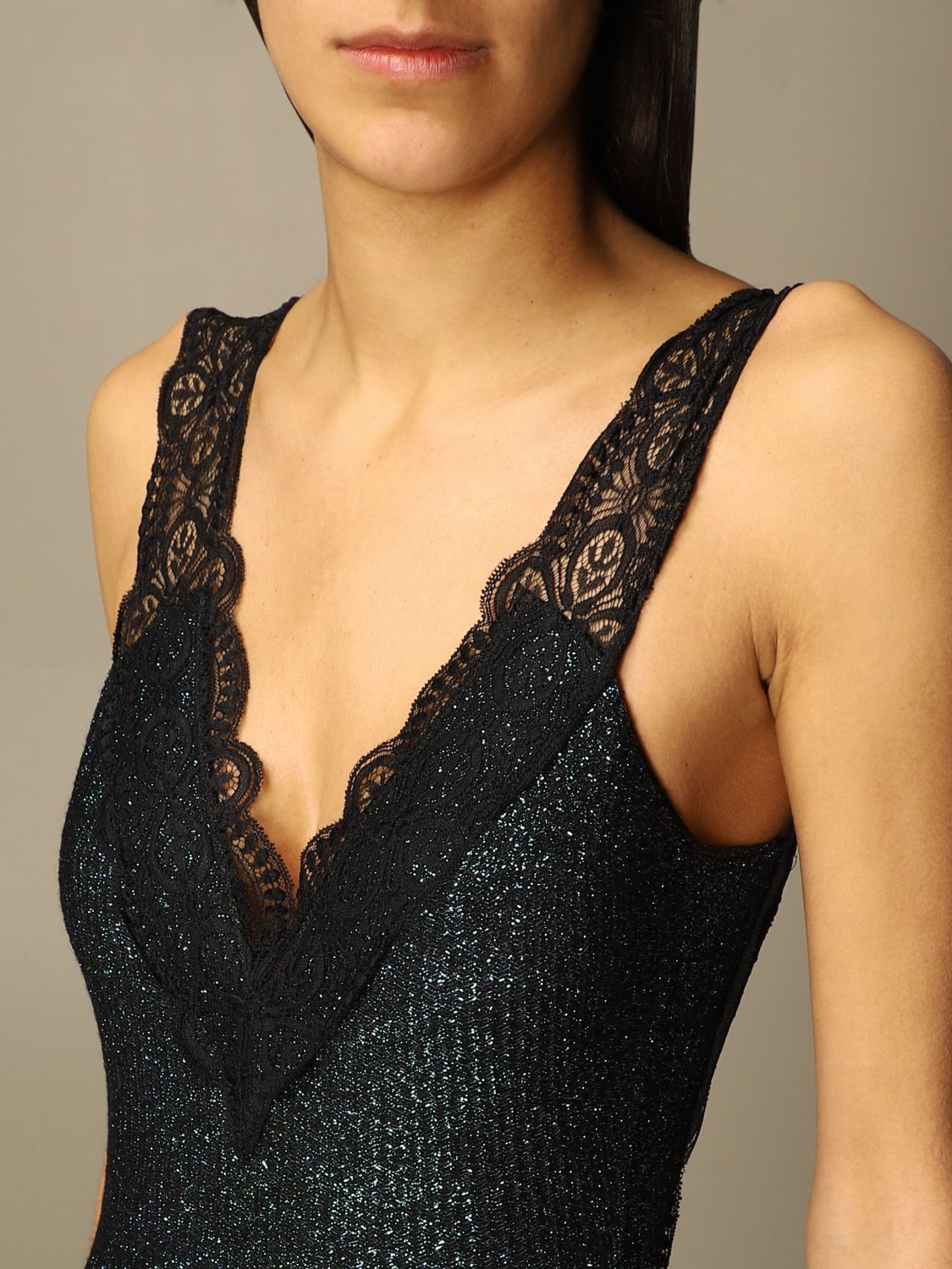 Swimsuit Circus Hotel: Circus Hotel one-piece swimsuit in lurex and lace knitZ black 3