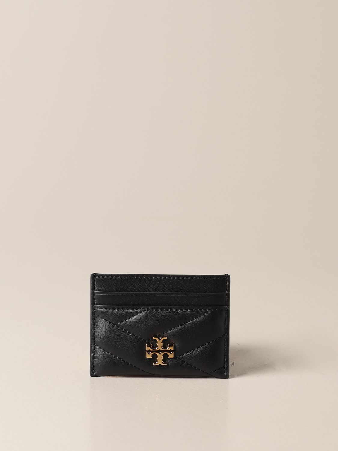 Wallet Tory Burch: Tory Burch credit card holder in quilted leather with metallic emblem black 1