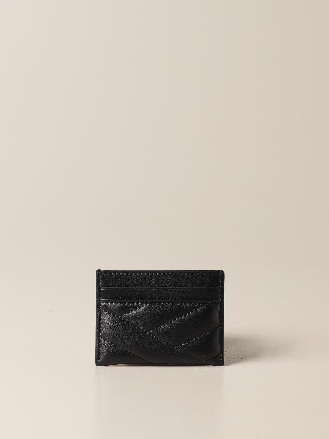 Wallet Tory Burch: Tory Burch credit card holder in quilted leather with metallic emblem black 2