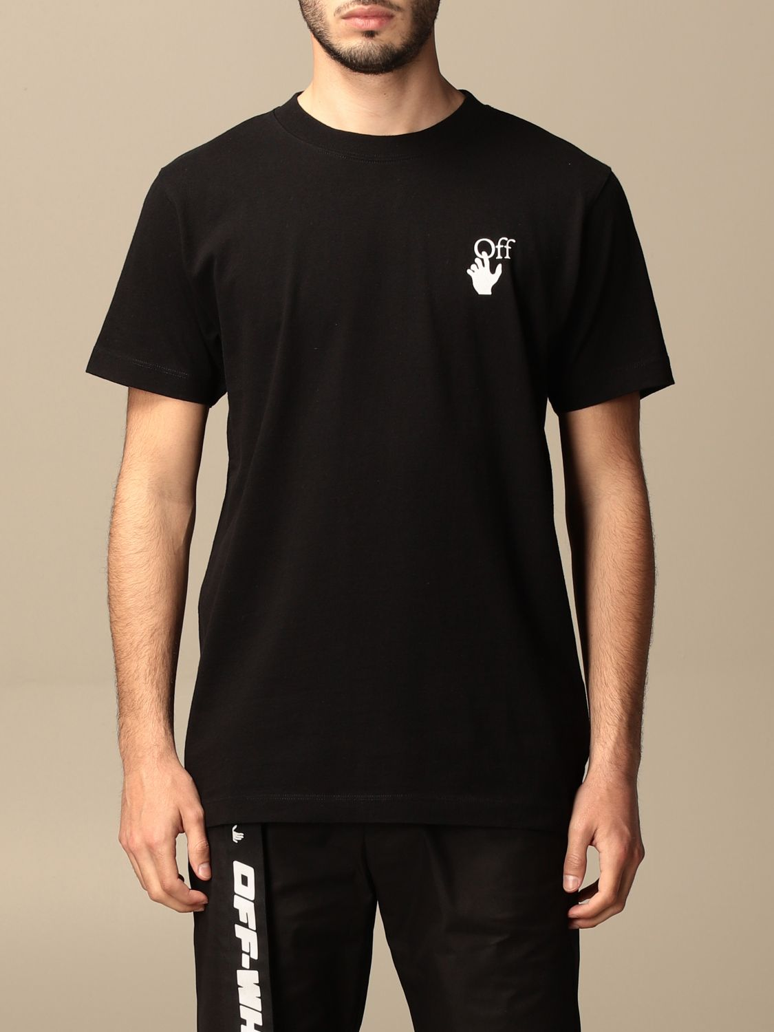 T-shirt Off White: Off White cotton t-shirt with arrows logo black 1
