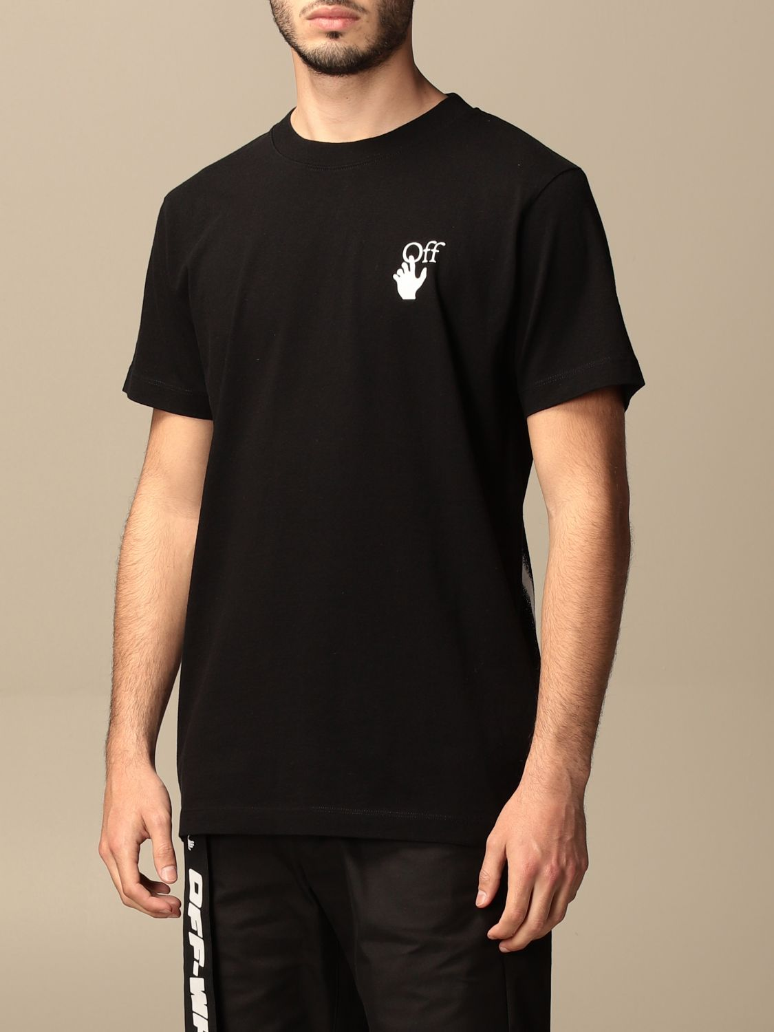 T-shirt Off White: Off White cotton t-shirt with arrows logo black 3