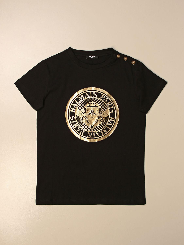 T-shirt Balmain: T-shirt Balmain in cotone con logo oro 1