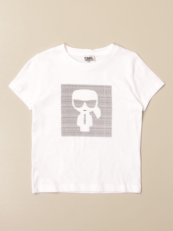 T-shirt Karl Lagerfeld Kids: T-shirt Karl Lagerfeld Kids in cotone con logo Karl bianco 1