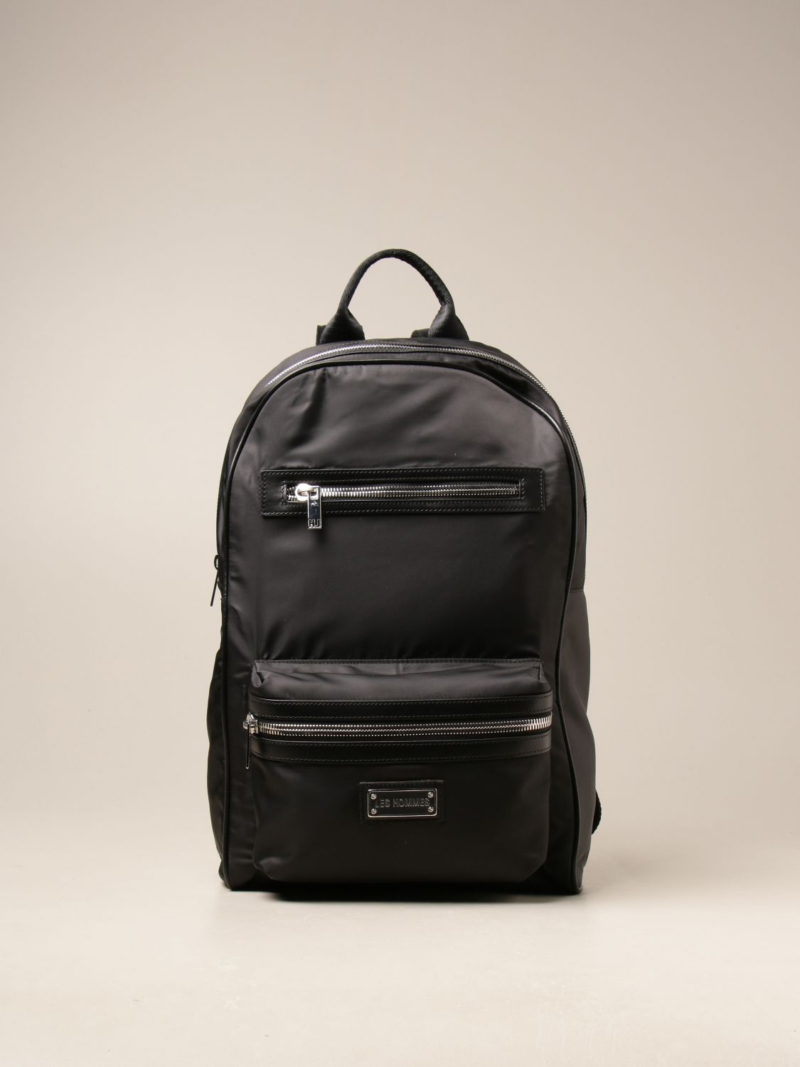 Les Hommes Nylon And Leather Backpack In Nero