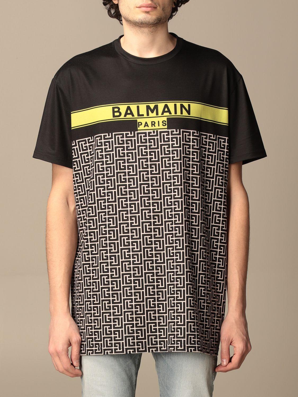 T-shirt Balmain: Balmain cotton T-shirt with all-over monogram logo black 1