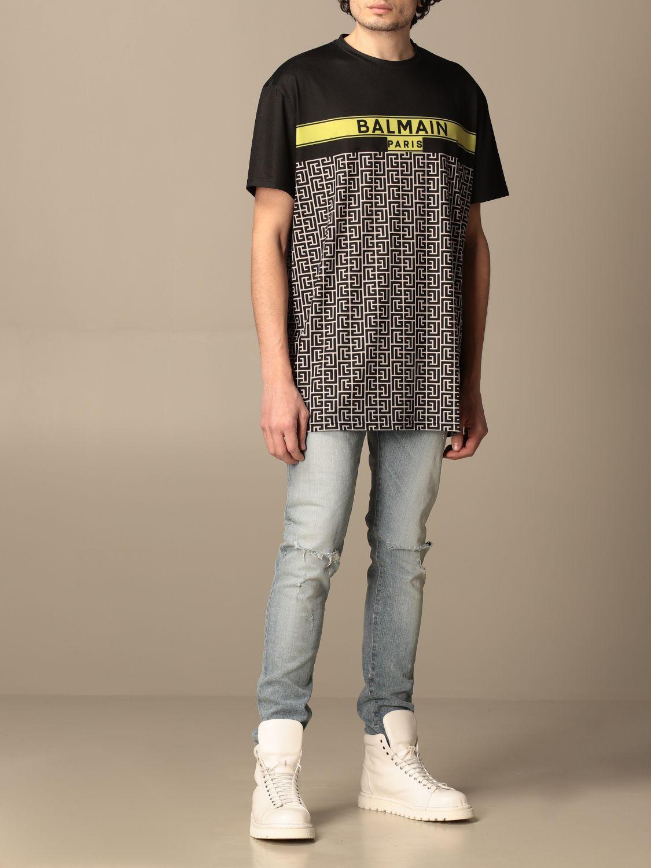 T-shirt Balmain: Balmain cotton T-shirt with all-over monogram logo black 2