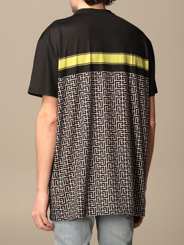 T-shirt Balmain: Balmain cotton T-shirt with all-over monogram logo black 3
