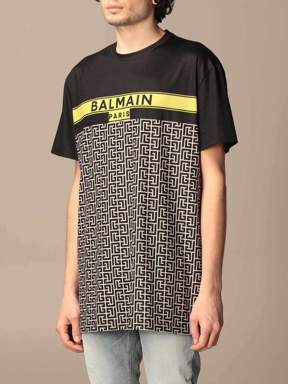 T-shirt Balmain: Balmain cotton T-shirt with all-over monogram logo black 4
